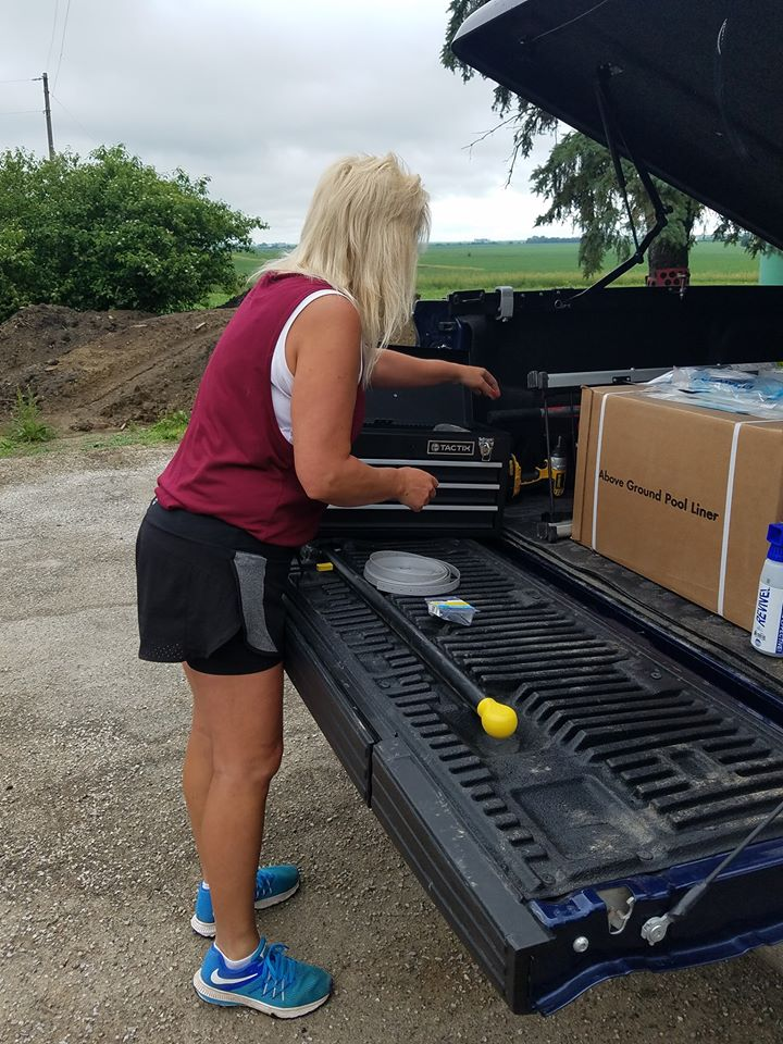 We're constantly on the road providing valuable products and services to our customers. Here you can see Kristie loaded up with tools and an Above Ground Pool Cover for another installation at a different job site. It's June 2018 and Summer is now in full swing. For us, this means we're bouncing from one job site to the next. The benefit, we are working hard to ensure our customers are treated right by professionals who care!
