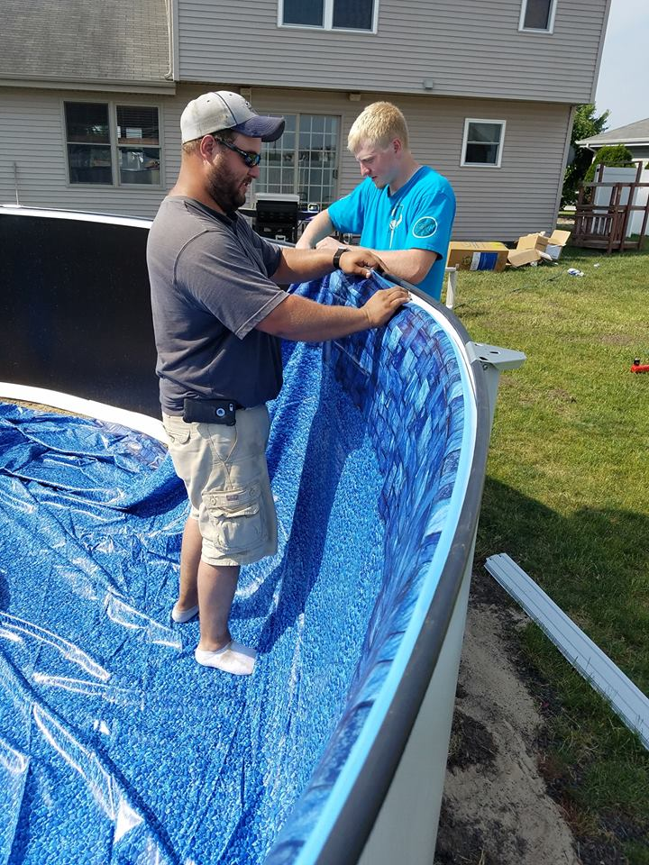 "Our Vinyl Liners are designed with a J-Hook attachment. This attachment has a ""Bead"" or fattened edge that we place into our liner track to hang our vinyl liner. These liners are very sturdy and offer a decent out of expansion once the water is added. This creates a smooth texture around the entire surface of your swimming pool."