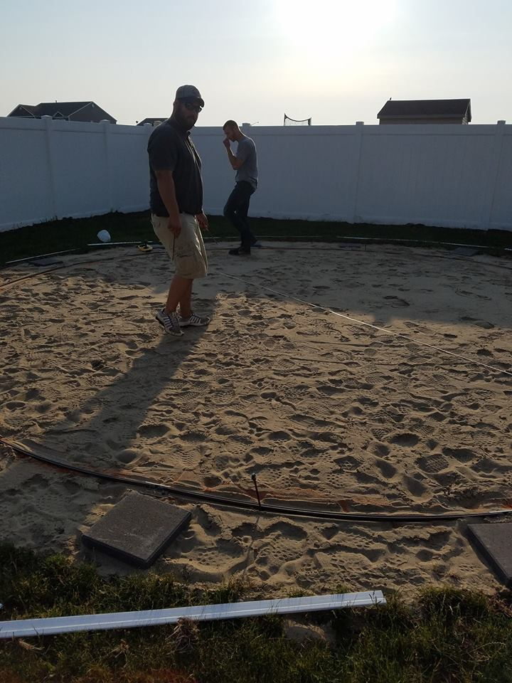 We use sand as the base for our above ground pools. Sand offers a great support base due to its soft texture and ability to allow water to pass through. It's also an excellent protective layer for our vinyl liner - which holds our water.